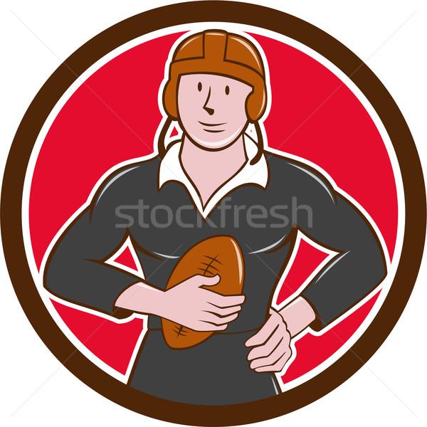 Vintage NZ Rugby Player Hold Ball Circle Cartoon Stock photo © patrimonio