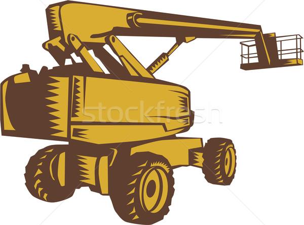 Cherry Picker Mobile Lift Platform Woodcut Stock photo © patrimonio