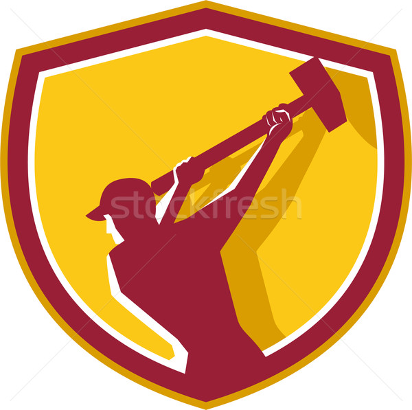 Demolition Worker Sledgehammer Crest Retro Stock photo © patrimonio