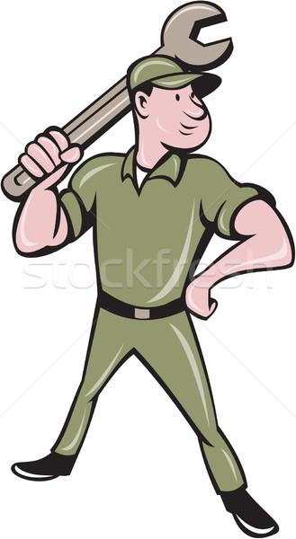механиком гаечный ключ Cartoon иллюстрация Постоянный Сток-фото © patrimonio