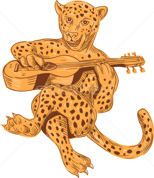 Jaguar Playing Guitar Drawing Stock photo © patrimonio