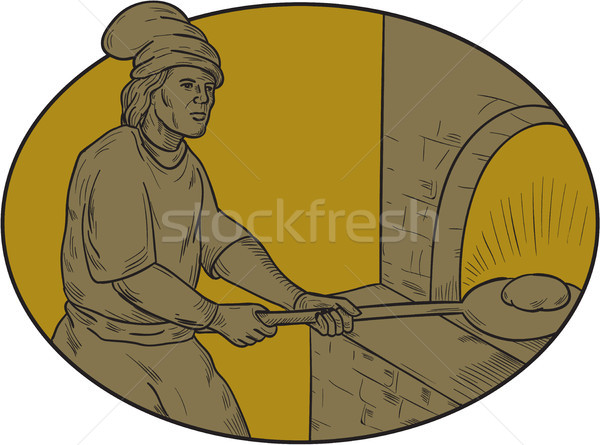 Medieval Baker Bread Peel Wood Oven Oval Drawing Stock photo © patrimonio
