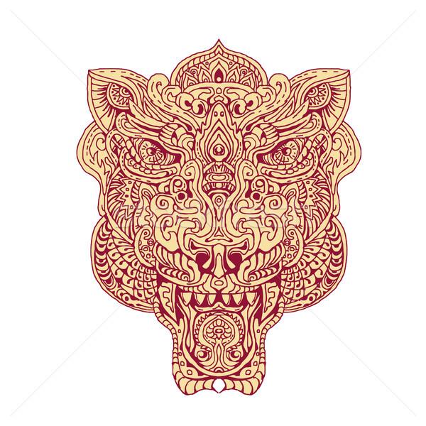 Tigre cabeza mandala ilustración mano dibujo Foto stock © patrimonio