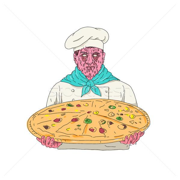 Zombi szakács tart pizza pite mocsok Stock fotó © patrimonio