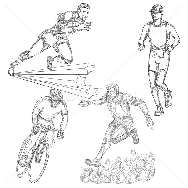 Track and Field Cycling Sports Doodle Collection Stock photo © patrimonio