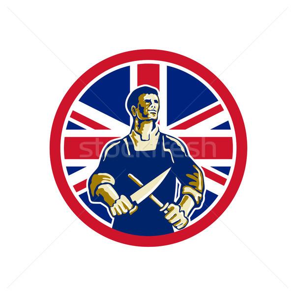英国の 肉屋 ユニオンジャック フラグ アイコン レトロスタイル ストックフォト © patrimonio