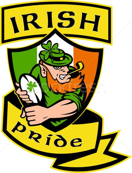 Irish leprechaun rugby player shield Ireland Stock photo © patrimonio