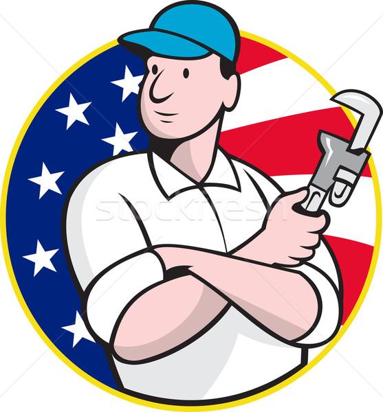 Plombier travailleur clé à molette cartoon illustration Photo stock © patrimonio