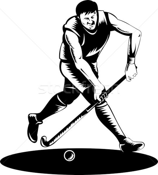 Gyeplabda játékos fut bot retro illusztráció Stock fotó © patrimonio
