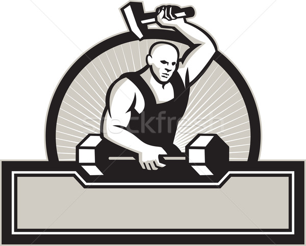 Blacksmith With Hammer Striking Barbell Stock photo © patrimonio