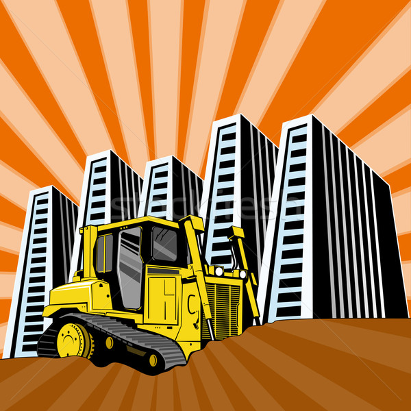 Mechanical Digger Excavator Retro Stock photo © patrimonio