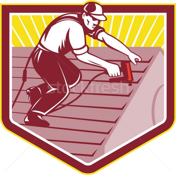 Roofer Roofing Worker Retro Stock photo © patrimonio