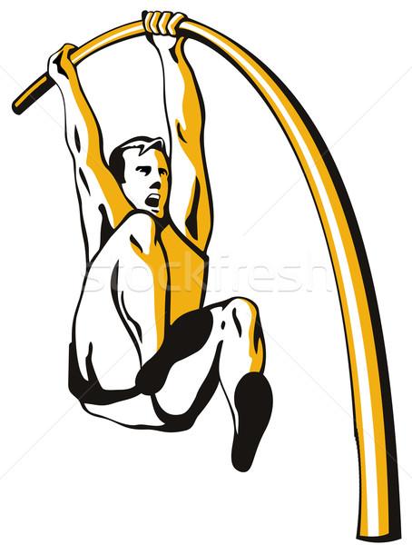 Pólus agykoponya illusztráció atléta izolált fehér Stock fotó © patrimonio