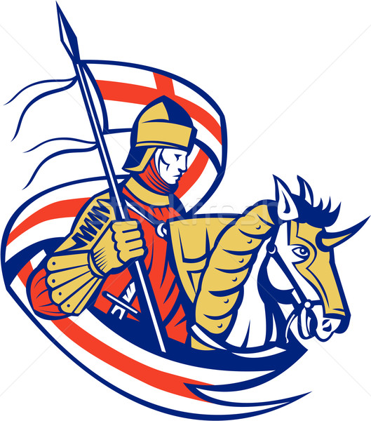 Engels ridder Engeland vlag schild paard Stockfoto © patrimonio