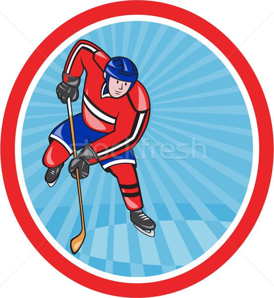 Hokej gracz front Stick cartoon ilustracja Zdjęcia stock © patrimonio