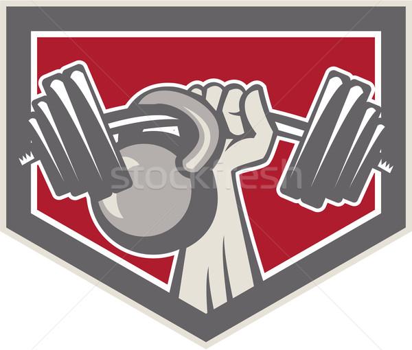 Kéz emel súlyzó kettlebell pajzs illusztráció Stock fotó © patrimonio