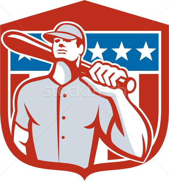 American Baseball Batter Bat Shield Retro Stock photo © patrimonio