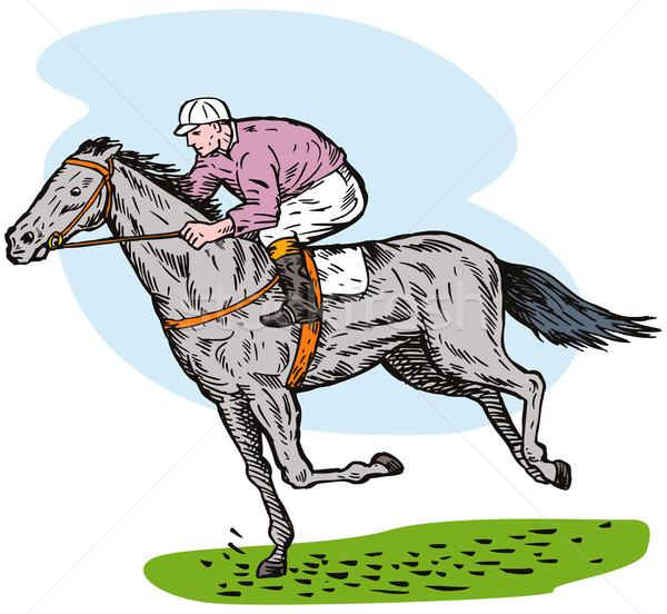 Zsoké lovaglás ló oldalnézet illusztráció lóverseny Stock fotó © patrimonio