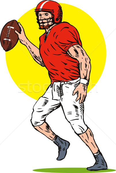 Football player passing yellow ellipse Stock photo © patrimonio