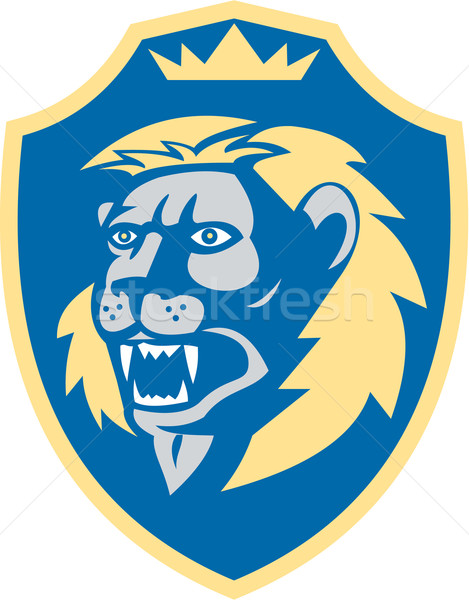 Angry Lion Head Roar Shield Retro Stock photo © patrimonio