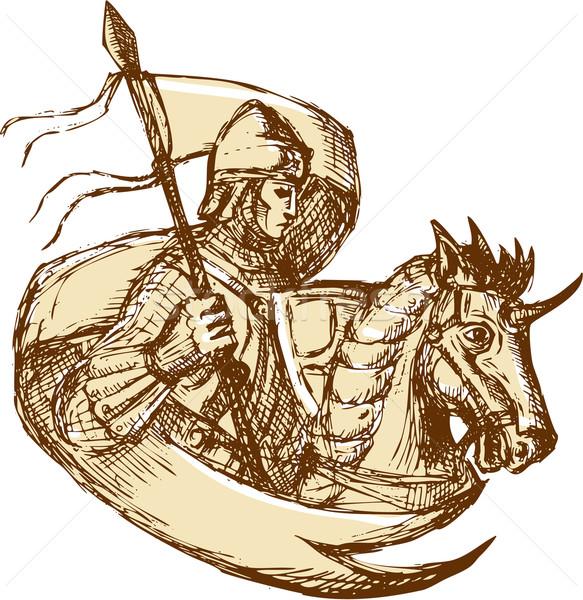Knight On Horse Holding Flag Drawing Stock photo © patrimonio