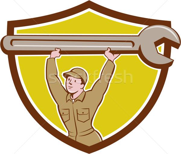 механиком гаечный ключ ключа гребень Cartoon Сток-фото © patrimonio