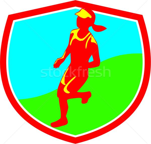 Kobiet maraton runner tarcza ilustracja uruchomiony Zdjęcia stock © patrimonio