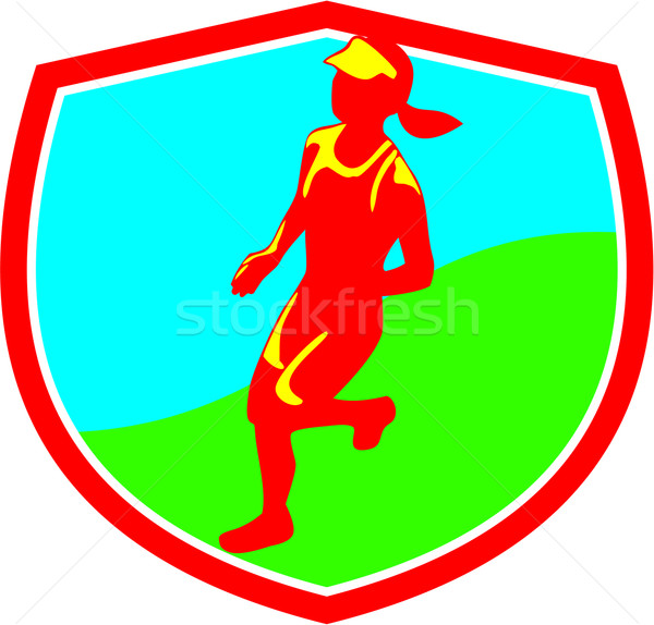 Female Triathlete Marathon Runner Shield  Stock photo © patrimonio