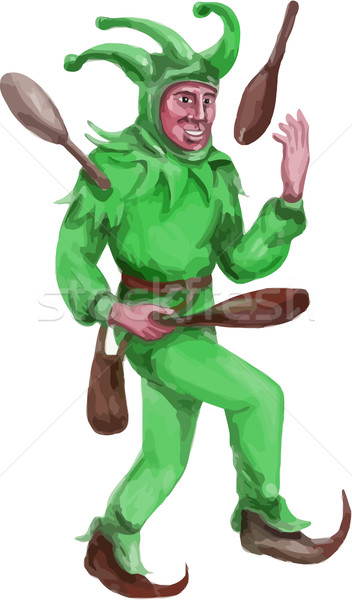Medieval Juggler Juggling Sticks Watercolor Stock photo © patrimonio