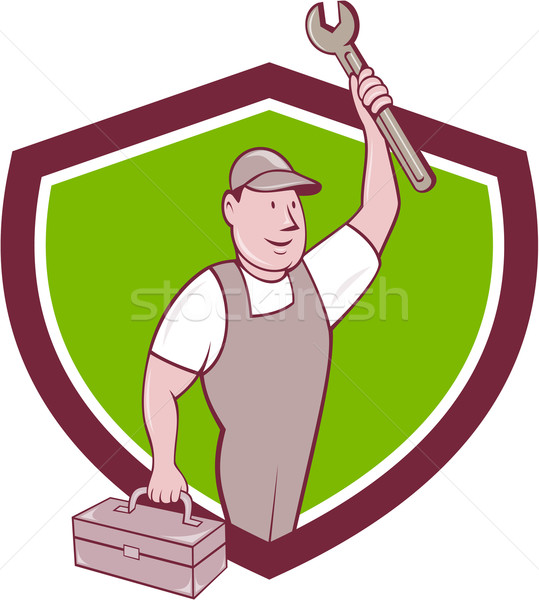 Mechanic Wrench Toolbox Crest Cartoon Stock photo © patrimonio