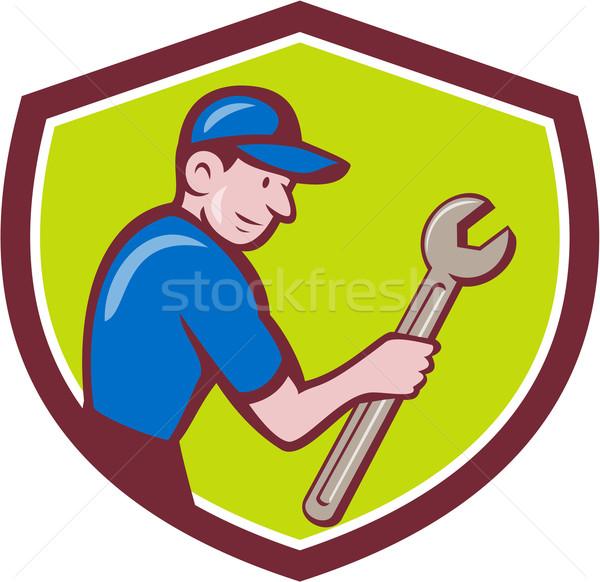 Handyman Holding Spanner Crest Cartoon  Stock photo © patrimonio