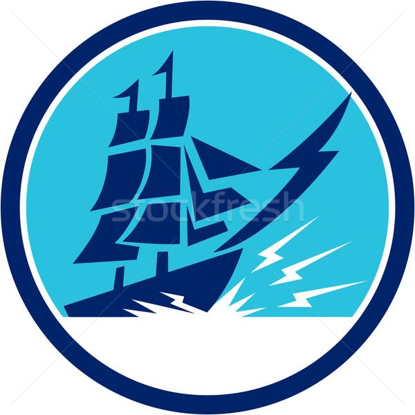 Tall Sailing Ship Lightning Bolt Circle Stock photo © patrimonio