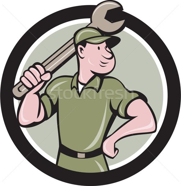 Mechanic Wielding Spanner Circle Cartoon Stock photo © patrimonio