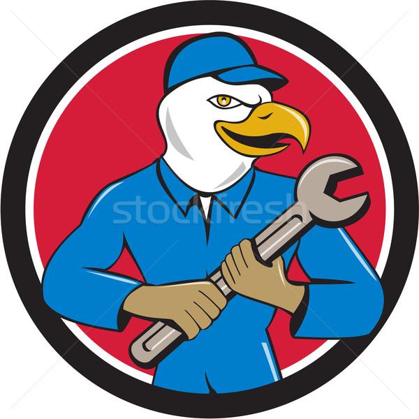 American Bald Eagle Mechanic Spanner Circle Cartoon  Stock photo © patrimonio