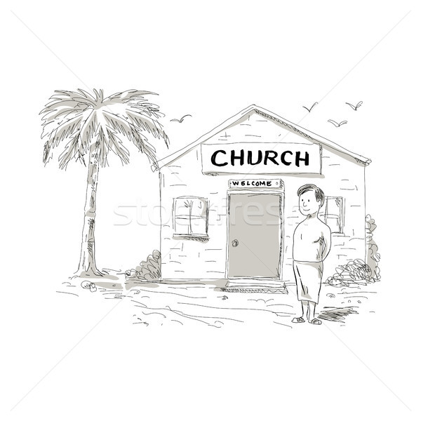Samoan Boy Stand By Church Cartoon Stock photo © patrimonio