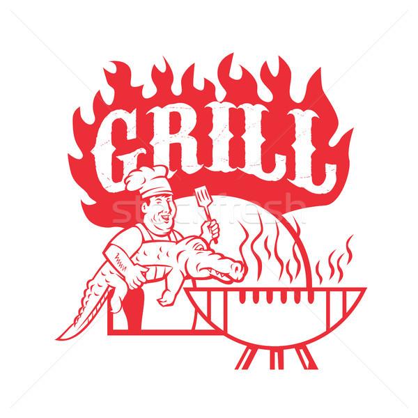 Bbq Küchenchef gator Grill Retro Stock foto © patrimonio