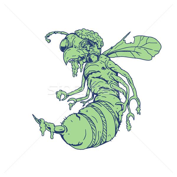 зомби Bee Cartoon стиль иллюстрация глазах Сток-фото © patrimonio
