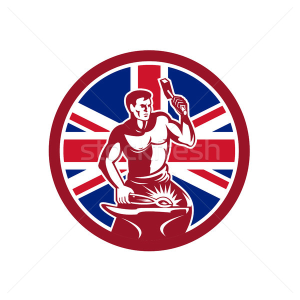 British Blacksmith Union Jack Flag Icon Stock photo © patrimonio