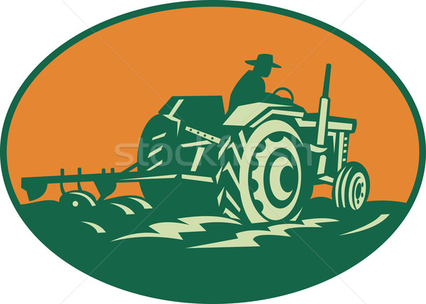 Farmer Worker Driving Farm Tractor Stock photo © patrimonio