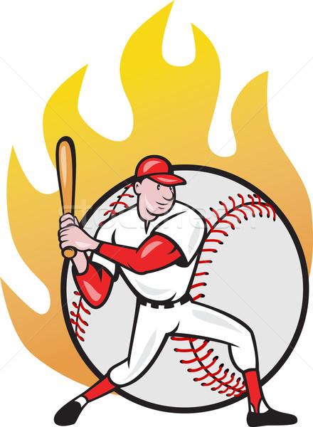 Americano jogador de beisebol bola ilustração desenho animado estilo Foto stock © patrimonio