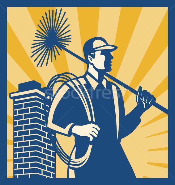 Komin czystsze pracownika retro ilustracja miotła Zdjęcia stock © patrimonio