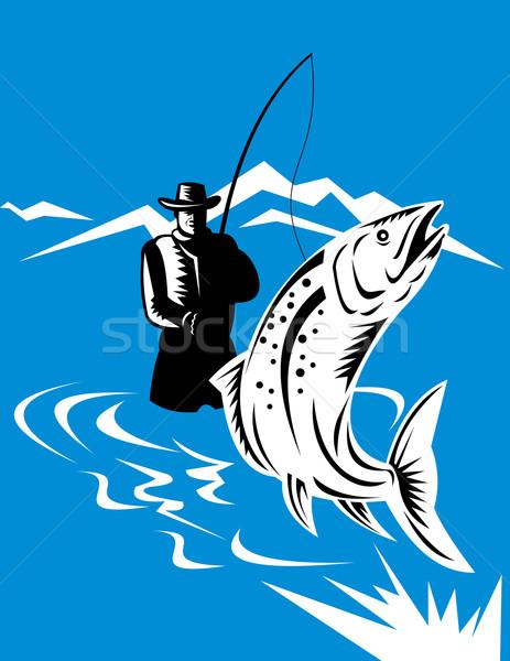 Truite poissons sautant volée pêcheur illustration Photo stock © patrimonio
