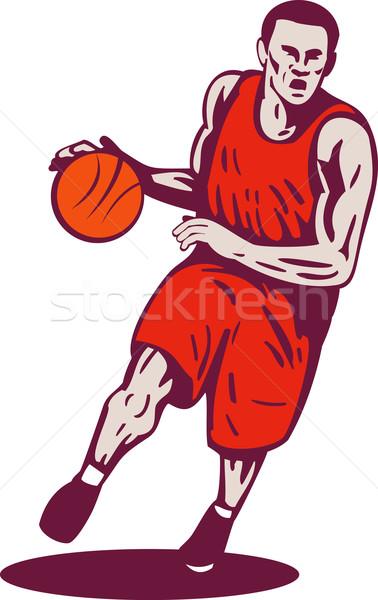Basketball Player Dribbling Ball Retro Stock photo © patrimonio