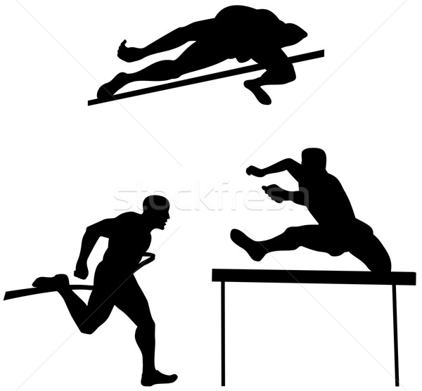 Track veld illustratie runner silhouet ingesteld Stockfoto © patrimonio