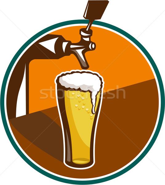Cerveja quartilho vidro torneira retro ilustração Foto stock © patrimonio