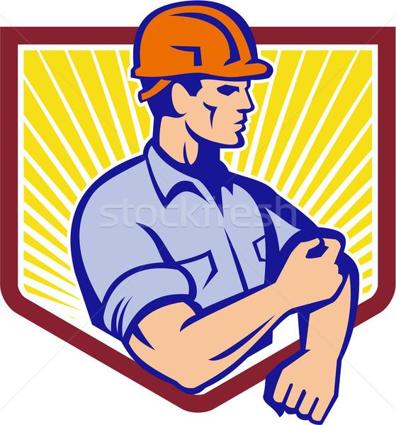 Pracownik budowlany w górę rękaw retro ilustracja Zdjęcia stock © patrimonio