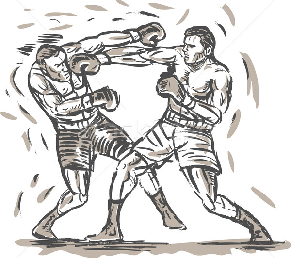 drawing of two boxers punching Stock photo © patrimonio