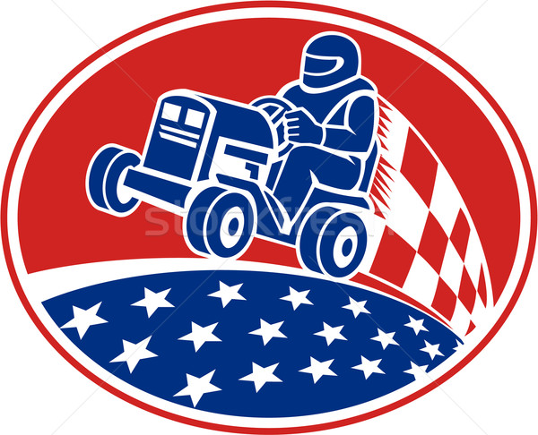 Rasenmäher racing Retro Illustration Fahrer Stock foto © patrimonio