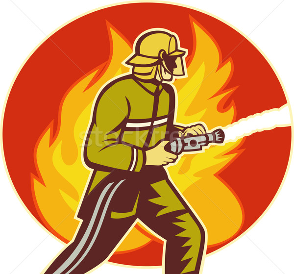 Firefighter fireman with water hose fighting fire Stock photo © patrimonio