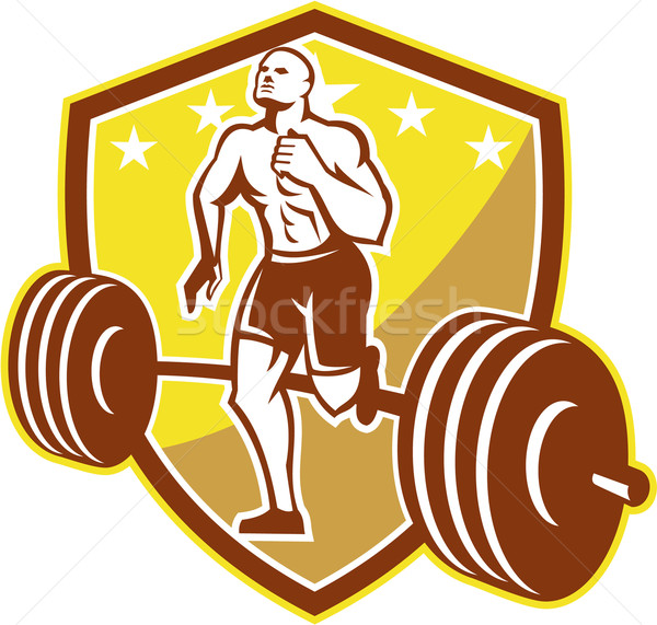 Crossfit Athlete Runner Barbell Shield Retro Stock photo © patrimonio